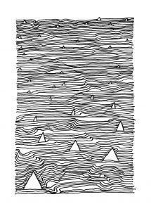 Strichzeichnung Haie