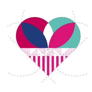 Detailansicht grafische Konzeption Blatt Herz